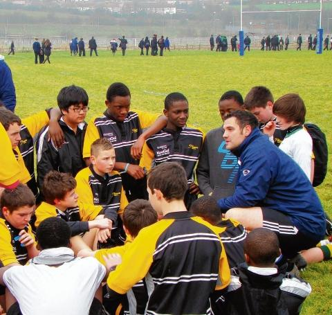 Coaching them up – Ryan Jones gives his instructions to his Gateway Academy team