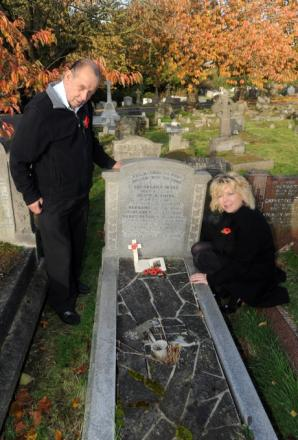 Reporter Lorne Spicer with war graves researcher Geoff Gillon