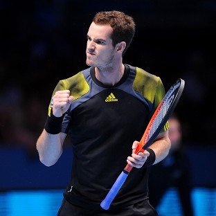 Andy Murray celebrates a break of serve against France's Jo-Wilfried Tsonga