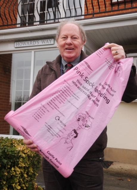 Plenty to go round - councillor Ray Howard with one of the precious pink sacks