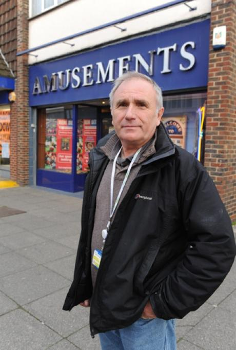 Concerned - Dave Blackwell outside Canvey Amusements