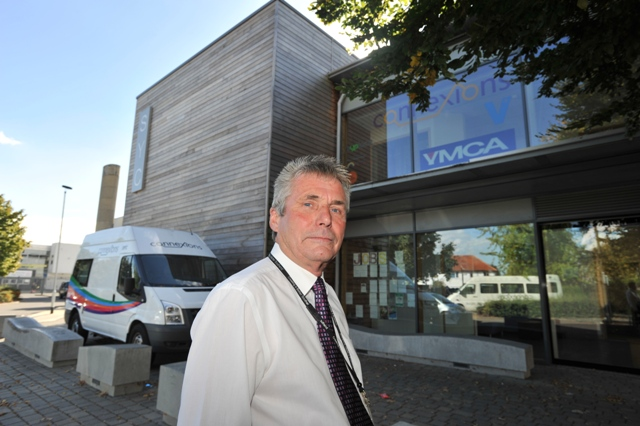Councillor Roger Hadley outside the centre