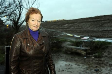 Councillor Ann Chalk in front of the earth mound