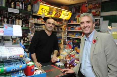 Robbery fears - new crime commissioner Nick Alston with Canvey newsagent Mustafa Ozcan