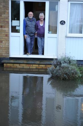 Helen and Peter Watt were left stranded in their house in Furtherwick Road, Cavney, once again after 27 years of flooding problems