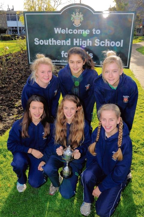 The Southend High School for Girls intermediate girls team with their trophy