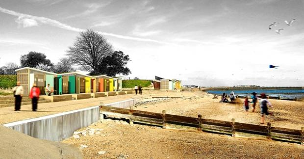 A computer generated image of the new beach huts