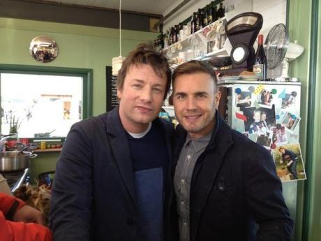 Jamie Oliver and Gary Barlow in the cafe