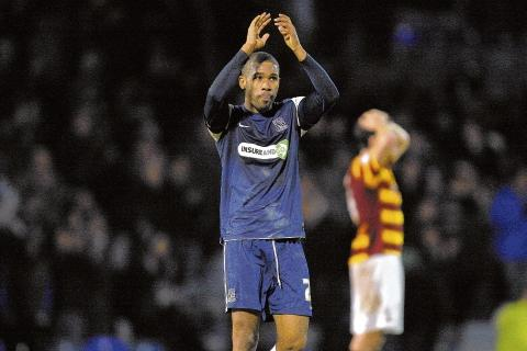 Hand signals - Gavin Tomlin applauds Blues fans at the final whistle