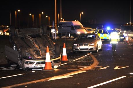 Multi-vehicle crash blocks Sadlers Farm roundabout