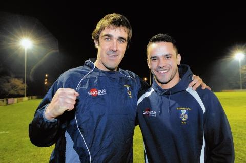 Chris Green (left) welcomes Mike Stanley back to the club