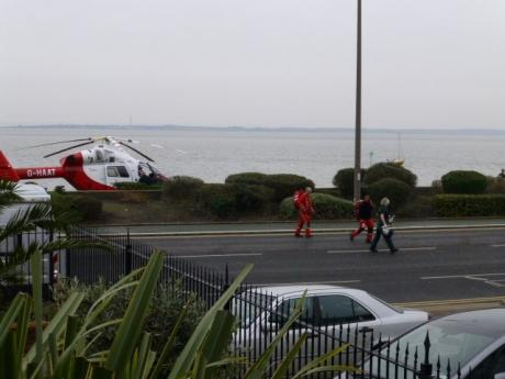 Air ambulance lands on Chalkwell seafront