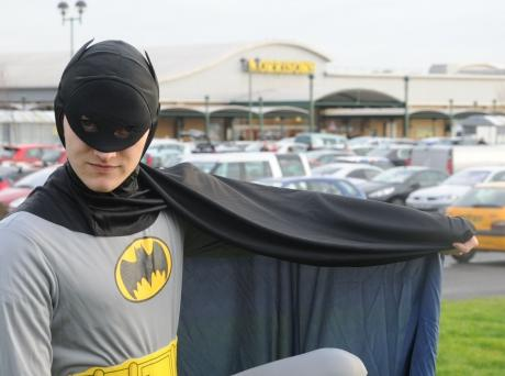 Batman's powers couldn't get him inside the store to rescue the poor robin