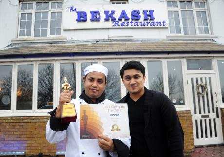 l/r Chef Burhan Uddin and Raj Mannan - manager. The restaurant's chef Burhan Uddin recently won chef of the year at the Bangladesh Caterers Assocaition awards.