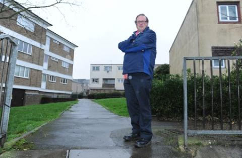 "Ralph Lowe, 46, has compared the 3/4 estate in Vange to the third world due its ""pepper-potting"" appearance"