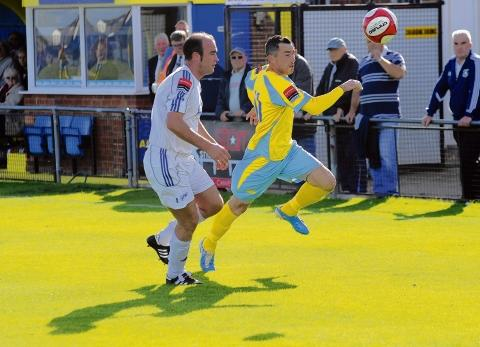 Back from injury — Jay Curran, seen playing against Wroxham in November, has recovered from a hamstring problem