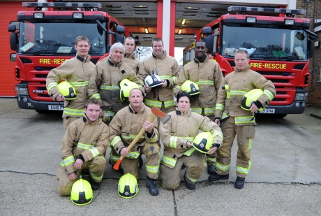 Firefighters from Basildon's green watch who tackled Triangle shops blaze