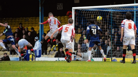 Barry Corr heads home Southend United's first goal against Brentford on Saturday