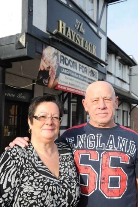 Fond farewell - Landlords Steve and Angie Lant outside the Haystack Pub in Canvey