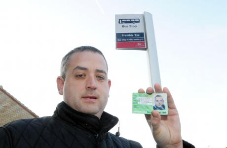 Michael Smith at his local bus stop in Noak Bridge