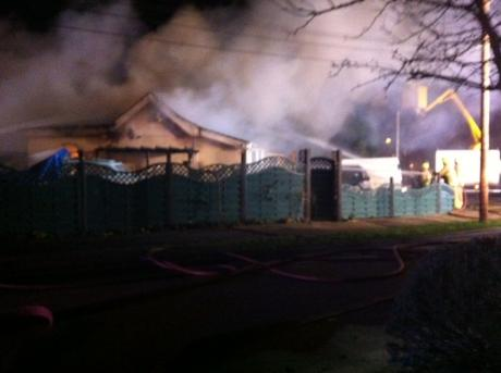 Bungalow fire in Rose Road, Canvey. Taken by Echo reader Bradley Higgins