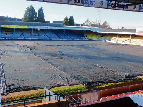 Under wraps - the Roots Hall pitch had been under cover in a bid to get the game on