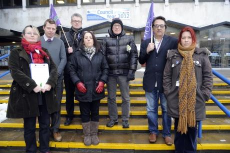 Claire Wormaid, Unison branch secretary for Southend Council, and branch officers outside Civic Centre
