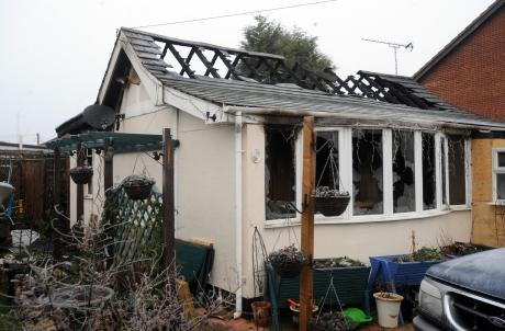 Destroyed - the charred bungalow in Beverley Avenue, Canvey