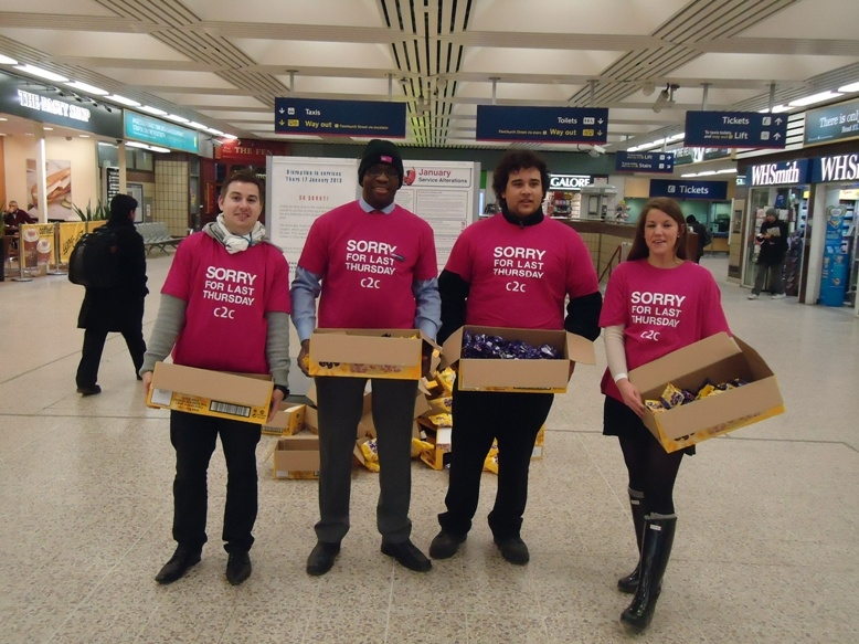 "c2c staff wearing t-shirts saying ""Sorry for last Thursday"" handed out 20,000 chocolates to passengers at London Fenchurch Street"