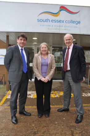 Stephen Metcalfe, Angela O'Donoghue and John Schofield outside the Nethermayne South Essex College