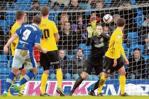 Safe hands - Paul Smith pulled off some fine saves in the Southend goal, including this one from Marc Richards' free-kick