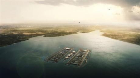 CGI image of a floating Thames estuary airport, as proposed by architectural firm Gensler