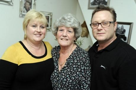 Twins Tracey Parker and Ray Mudd with their mum, Kathleen Godbeer