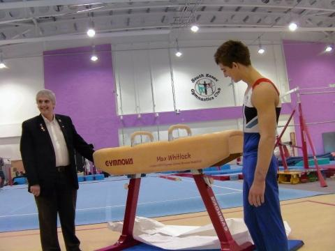Max Whitlock with his new pommel horse