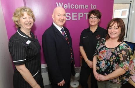 Tracy Karen Wright, consultant practioner, Patrick Geoghegan, SEPT chief executive, Caroline Dearson and dementia buddy Bridget Carr.
