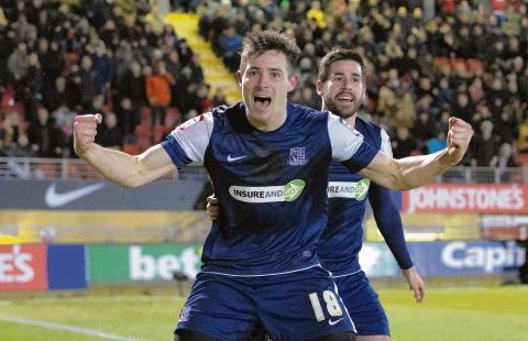 Ryan Leonard celebrates scoring at Leyton Orient on Tuesday night