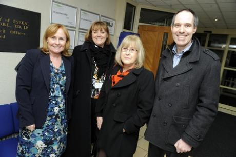 Margaret Wilson, headteacher, Melanie McGauley, deputy headteacher, Katrina Bentley, school business manager and Phil Ruffle, architect from Munday and Cramer