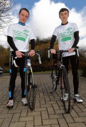 Pedal power — Ben Lamb (left) and his college mate  Michael Stair