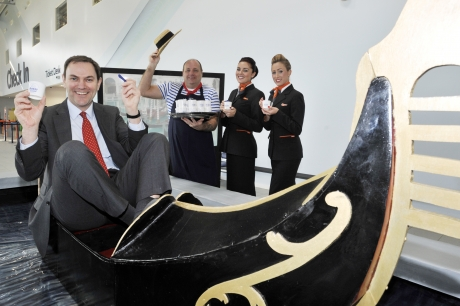 Southend Airport's managing director Alastair Welch celebrates the airport's first ever flight to Venice