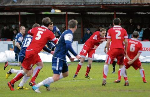 Kevan Hurst fires home a late equaliser for Southend United at Accrington Stanley