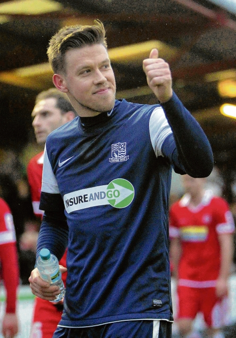 Kevan Hurst celebrates scoring for Southend United at Accrington Stanley