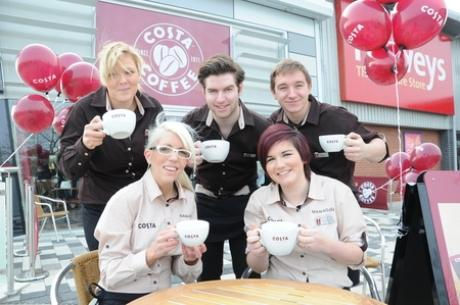 Happy staff at the new Costa coffee shop that's opened on the Mayflower Retail Park