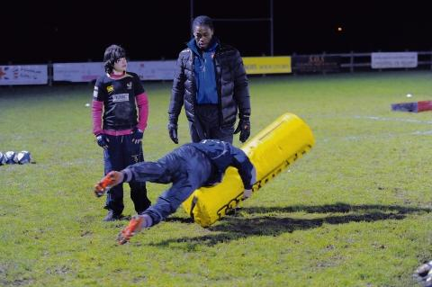 Serge Betsen — coaching youth team players at Southend