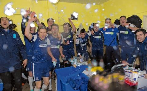 Luke Prosser and his Southend United team-mates celebrate reaching Wembley
