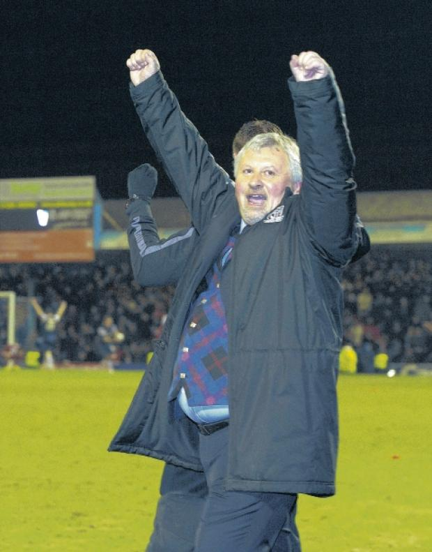 Paul Sturrock celebrates at the end of Wednesday night's game against Leyton Orient