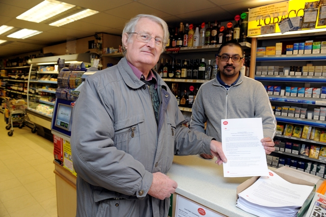 Mike Grimwade and store owner Pritpal Tak