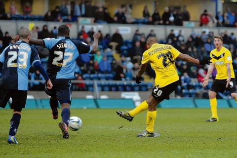 Britt Assombalonga fires home the winning goal for Southend United