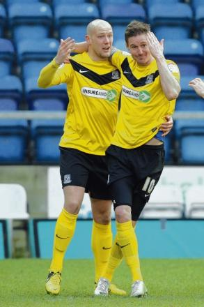 Barry Corr celebrates his goal with Ryan Cresswell