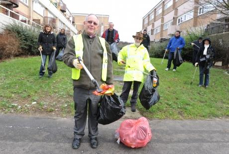 The Bishop of Bradwell leads his team of litter pickers