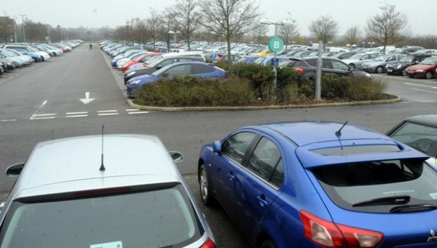 The packed car park at the RBS site